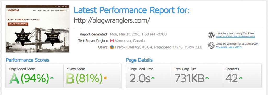 GTMetrix page load speed test before adding the CDN