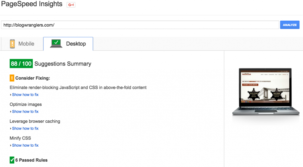Google PageSpeed Insights page load speed score after CDN