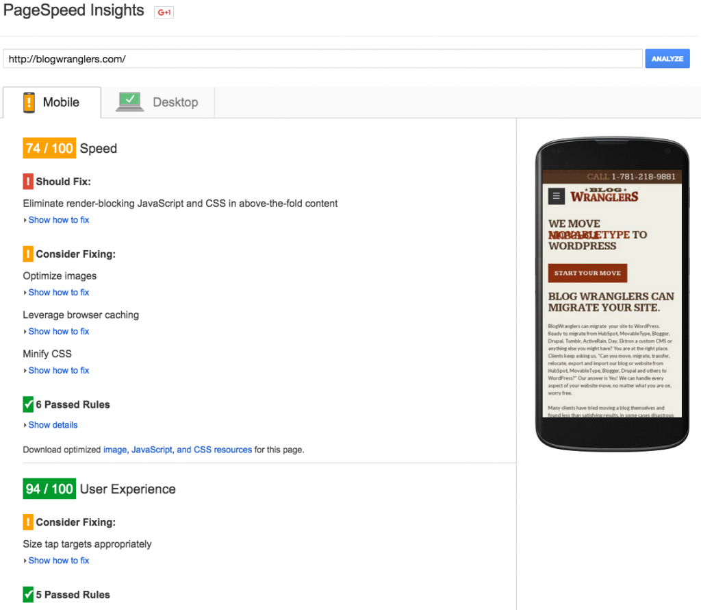 Google PageSpeed Insights Page Load Speed Test before the CDN.