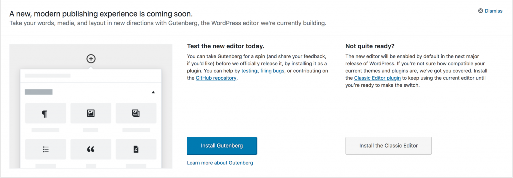 Gutenberg Nag Screen